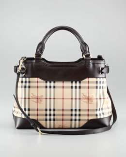 Burberry Leather-Trim Check Satchel Bag