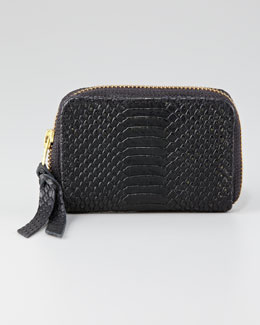 12th Street by Cynthia Vincent Snake-Embossed Coin Wallet, Black