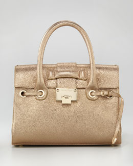 Jimmy Choo Glitter Rosalie Satchel Bag, Gold