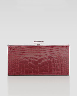 Judith Leiber East-West Rectangle Clutch Bag, Crimson