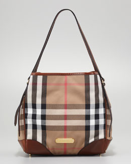 Burberry Small Check Canvas Tote Bag, Dark Tan