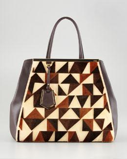 Fendi Cut-Velvet Pattern Leather Tote