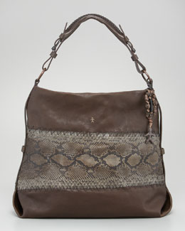 Henry Beguelin Python and Leather Hobo Bag
