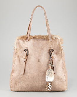Henry Beguelin Fur-Trim Tote Bag with Key Chain