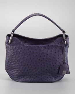 Akris Allegra Ostrich Medium Hobo Bag, Purple