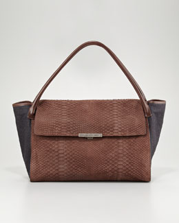 Brunello Cucinelli Flap-Front Python-Flannel Satchel Bag