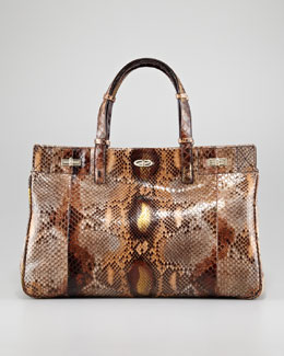 VBH Vault Glossy Python Turn-Lock Satchel Bag