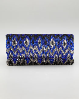 Moyna Ikat Beaded Fold-Over Clutch Bag