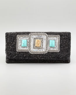 Moyna Stone-Detailed Beaded Clutch Bag
