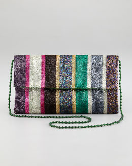 Moyna Stripe-Beaded Flap-Top Clutch Bag