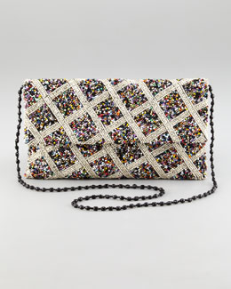 Moyna Crisscross-Beaded Flap-Top Clutch Bag