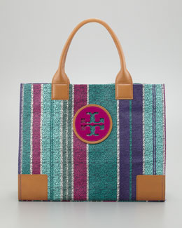 Tory Burch Ella Large Striped Tote Bag, Tribe Violet