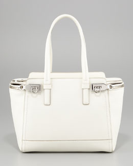 Salvatore Ferragamo Arianna Zip Tote Bag, Off White