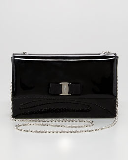 Salvatore Ferragamo Vara Ginny Patent Flap Shoulder Bag, Black