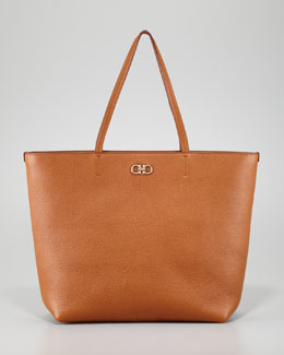 Salvatore Ferragamo Gina Zip-Top Tote Bag, Brown