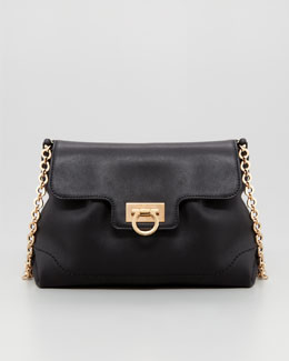 Salvatore Ferragamo Amelie Soft Leather Shoulder Bag, Black