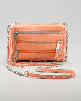 Rebecca Minkoff Zip-Front Leather Crossbody Bag, Coral