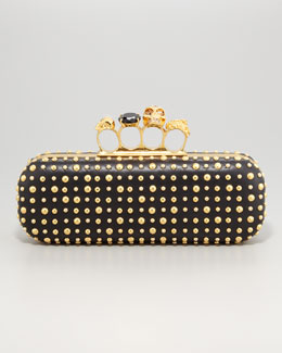 Alexander McQueen Etched-Stud Knuckle-Duster Clutch Bag