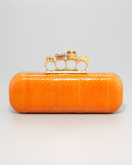 Alexander McQueen Knuckle-Duster Snakeskin Box Clutch Bag, Orange