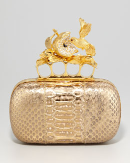 Alexander McQueen Apple & Hummingbird Knuckle-Duster Python Clutch Bag