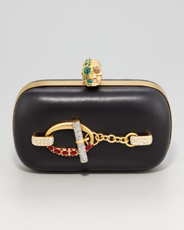 Alexander McQueen Crystal Toggle Skull-Clasp Clutch Bag