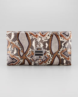 Kara Ross Electra Medium Ikat Python Clutch Bag