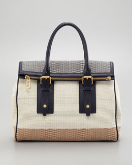 Belstaff Dorchester 36 Woven Leather Satchel Bag, Bone/Navy