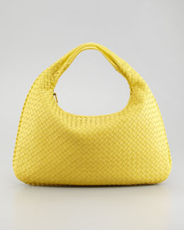 Bottega Veneta Veneta Large Woven Hobo Bag, Yellow