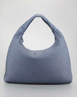Bottega Veneta Maxi Veneta Hobo Bag, Blue