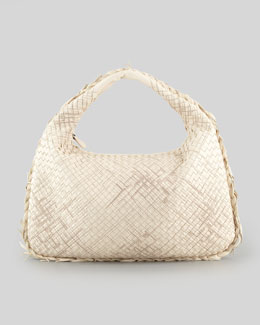 Bottega Veneta Large Veneta Hobo Bag with Fringe, Off White