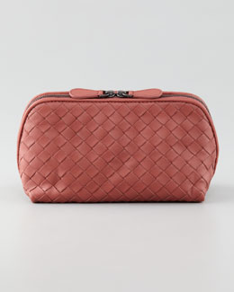 Bottega Veneta Woven Leather Medium Cosmetic Case, Coral