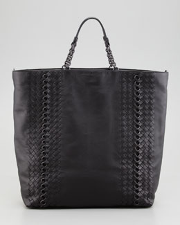 Bottega Veneta Napa Leather Circle-Link Tote Bag, Black