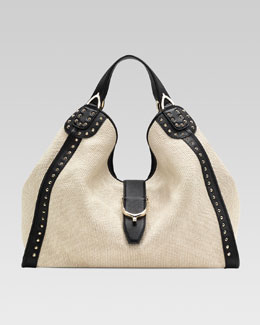 Gucci Soft Stirrup Straw Shoulder Bag, White