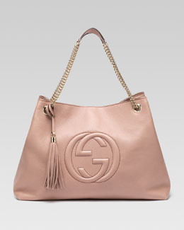 Gucci Soho Large Leather Double-Chain-Strap Shoulder Bag, Cipria
