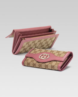 Gucci Original GG Canvas Continental Wallet, Soft Rose