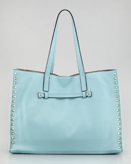 Valentino Rockstud Medium Tote Bag, Soft Turquoise