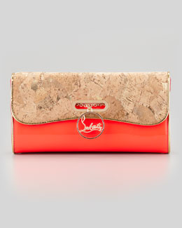 Christian Louboutin Riviera Patent Leather & Cork Clutch Bag