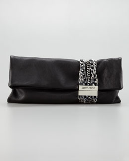 Jimmy Choo Chandra Chain Leather Clutch Bag, Black