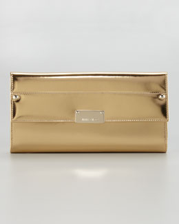 Jimmy Choo Reese Metallic Leather Wallet Clutch Bag, Gold
