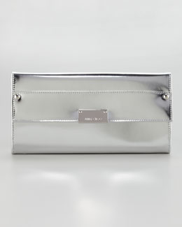Jimmy Choo Reese Metallic Leather Wallet Clutch Bag, Silver