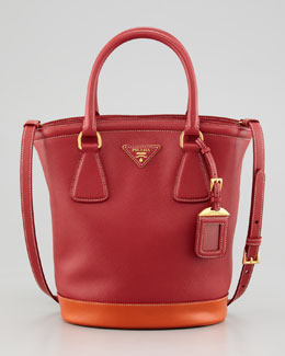 Prada Saffiano Bicolor Bucket Bag, Fuoco/Papaya