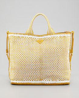 Prada Madras Tote Bag, Bianco/Yellow