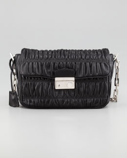 Prada Napa Gaufre Chain Shoulder Bag, Nero