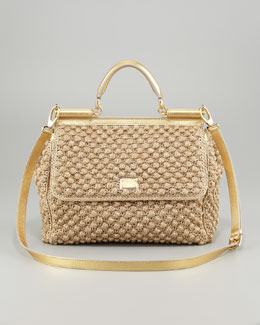 Dolce & Gabbana Miss Sicily Metallic Crochet Flap Bag
