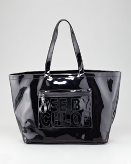 See by Chloe Zip File Large Patent PVC Tote Bag