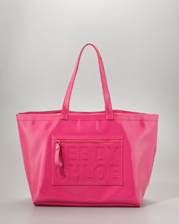 See by Chloe Large Zip File Tote Bag, Fuchsia