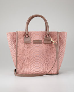 See by Chloe April Python-Embossed Zipped Tote Bag, Small