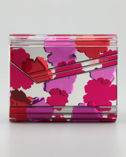 Jimmy Choo Candy Floral Design Inlay Clutch Bag, Pink