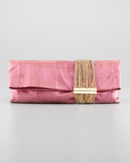 Jimmy Choo Chandra Chain Snakeskin Clutch Bag, Pink/Purple