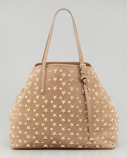 Jimmy Choo Sasha Star-Studded Tote Bag, Buff